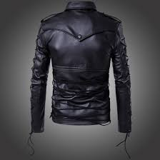motorcycle biker jacket men u0027s punk zipper side lace up faux leather motorcycle biker