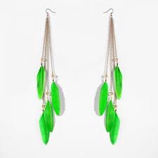 feather earrings tassel feather earrings boho feather dangle earrings green