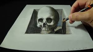 Halloween Skull Drawings Drawing Skull From The Hole Trick Art 3d Youtube