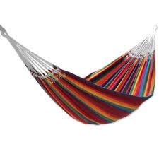 Brazillian Hammock Cotton Striped Fabric Hammock Double Brazilian Rainbow Novica