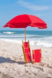 Beach Red Flag Wooden Beach Chair With Footrest