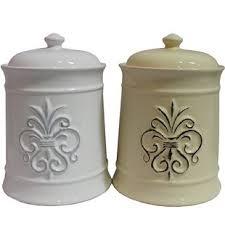 beige fleur de lis ceramic kitchen canisters set 3 by ceramic rooster canister set wayfair