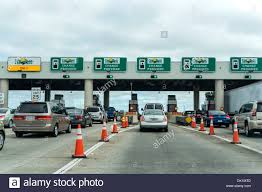 florida thanksgiving florida turnpike highway toll booths with sunpass lanes during the