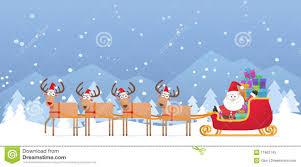 santa and christmas reindeer on snow royalty free stock photo