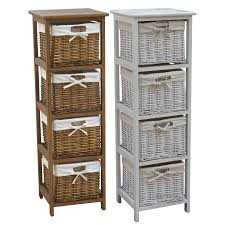 Bathroom Basket Drawers Wooden Storage Tallboy With Wicker Baskets In Two Colours