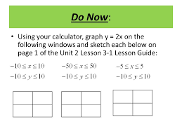do now using your calculator graph y u003d 2x on the following