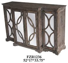Mirrored Sideboards And Buffets by Crestview Galloway 4 Door Rustic Wood And Mirror Sideboard