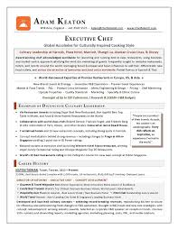 executive chef resume resume example