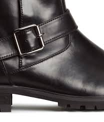 mens buckle biker boots h u0026m biker boots in black for men lyst