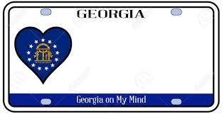 Georgia Flag State Georgia State License Plate In The Colors Of The State Flag With