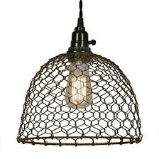 Ceiling Pendant Light Fixtures Chicken Wire Dome Pendant Light In Primitive Rust Finish Ceiling