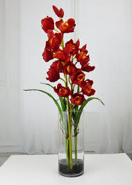 Tall Glass Vase Flower Arrangement Red Cymbidium Orchids Acrylic Water Faux Silk Real Touch