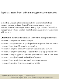Office Manager Resume Sample by Top 8 Assistant Front Office Manager Resume Samples 1 638 Jpg Cb U003d1428676863