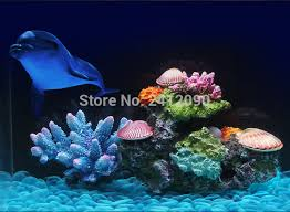 Red Green Resin Artificial Coral Reef Fake Sea Corals Fish Tank
