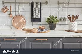 Copper Accessories For Kitchen Kitchen Brass Utensils Chef Accessories Hanging Stock Photo