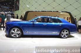 bentley mulsanne speed blue 2015 bentley mulsanne speed side view at 2015 geneva motor show