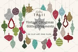sale xmas glitter ornaments clipart illustrations creative market