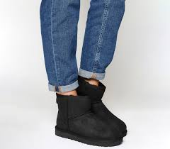 ugg boots sale manchester ugg mini ii black leather ankle boots