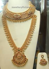 wedding jewelry necklace sets images Gold bridal long chain and necklace set jewellery designs prince jpg