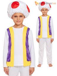 mushroom boys fancy dress toadstool 80s mario video game childs