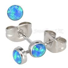 cornflower blue opal synthetic opal u0026 surgical steel stud earrings with butterfly backs
