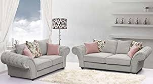 grey chesterfield sofa roma chesterfield sofa set in silver grey fabric 3 2 amazon co uk