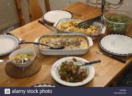 Dining Table With Food Food Continental Food Served Bowls Dining Table Potatoes Salmon