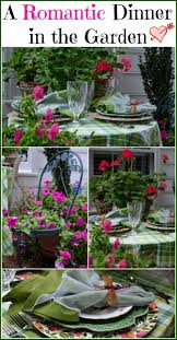 dining outdoors summer table setting tablescape with geranium