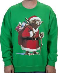 santa sweater wars yoda dressed as santa claus faux sweater
