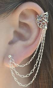 cuff earrings with chain ear cuff with chain butterfly wing earring chain ear