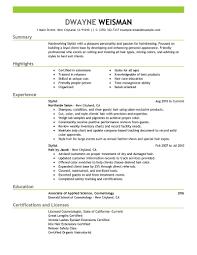 Hairdresser Resume Resume Hairdresser Resume