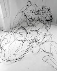 wire animal sculptures that look like scribbled pencil drawings by