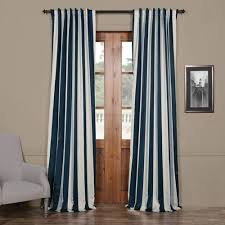 Single Panel Window Curtain Designs Rose Street Navy And Cream 108 X 50 In Striped Blackout Curtain