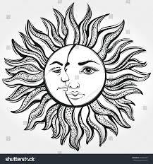 bohemian sun moon designvector illustration stock vector