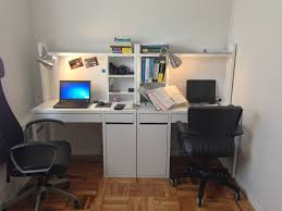 Ikea Study Table With Bookshelf Two Micke Work Stations From Ikea And Clip On Desk Lights From