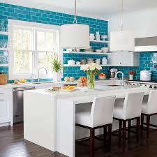 Blue Backsplash Tile by White Kitchen With Fireclay Ocean Blue Tile Backsplash