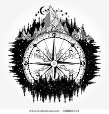 mountain antique compass wind rose tattoo stock vector 523773397