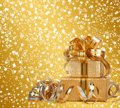 beautiful wrapping paper gift box in gold wrapping paper stock image image of