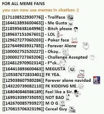 Facebook Chat Meme Codes - nice meme codes for facebook chat meme codes faces for chat