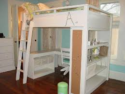 Sleigh Bunk Beds Bedroom White Lacquer Wooden Loft Bed With Bookcase And L Shaped