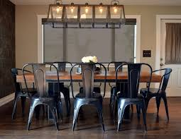 farmhouse table with metal chairs classy industrial farmhouse kitchen come with rectangle shape brown