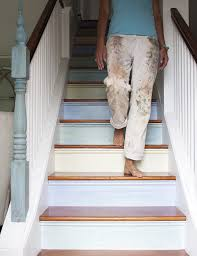 painting stair treads staircase contemporary with metal railing