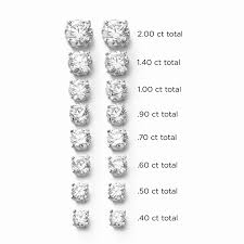 diamond stud sizes diamond stud earrings 70 carat total h i si2 14k white gold