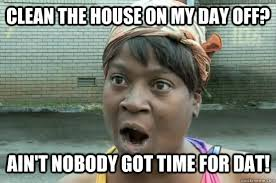 Clean House Meme - clean the house on my day off ain t nobody got time for dat