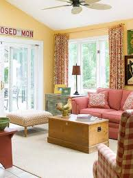 yellow walls red curtains decorating mellanie design