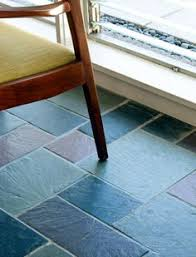 random multi color slate flooring an authentic mid century