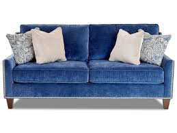 klaussner emmy transitional apartment sized sofa with nailhead