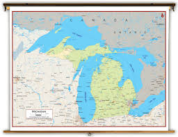 Road Map Of Michigan Michigan Wall Map Michigan Map