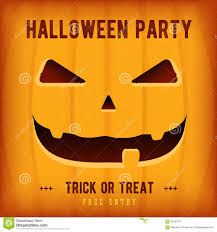 halloween party poster design template with orange pumpkin stock