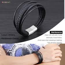 hand bracelet men images Starbeauty vintage black 6 multi layer leather bracelet men hand jpg